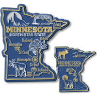 Minnesota State Map Giant & Small Magnet Set by Classic Magnets, 2-Piece Set, Collectible Souvenirs Made in the USA