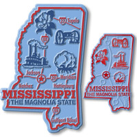 Mississippi State Map Giant & Small Magnet Set by Classic Magnets, 2-Piece Set, Collectible Souvenirs Made in the USA