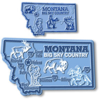 Montana State Map Giant & Small Magnet Set by Classic Magnets, 2-Piece Set, Collectible Souvenirs Made in the USA
