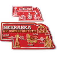Nebraska State Map Giant & Small Magnet Set by Classic Magnets, 2-Piece Set, Collectible Souvenirs Made in the USA