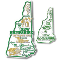 New Hampshire State Map Giant & Small Magnet Set by Classic Magnets, 2-Piece Set, Collectible Souvenirs Made in the USA