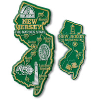 New Jersey State Map Giant & Small Magnet Set by Classic Magnets, 2-Piece Set, Collectible Souvenirs Made in the USA