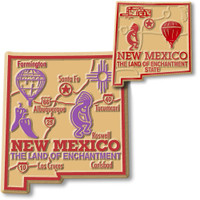 New Mexico State Map Giant & Small Magnet Set by Classic Magnets, 2-Piece Set, Collectible Souvenirs Made in the USA