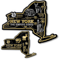 New York State Map Giant & Small Magnet Set by Classic Magnets, 2-Piece Set, Collectible Souvenirs Made in the USA