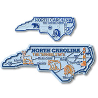 North Carolina State Map Giant & Small Magnet Set by Classic Magnets, 2-Piece Set, Collectible Souvenirs Made in the USA
