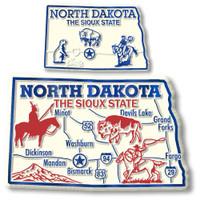 North Dakota State Map Giant & Small Magnet Set by Classic Magnets, 2-Piece Set, Collectible Souvenirs Made in the USA