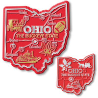 Ohio State Map Giant & Small Magnet Set by Classic Magnets, 2-Piece Set, Collectible Souvenirs Made in the USA