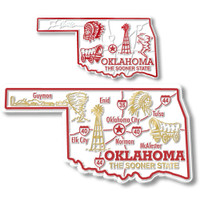 Oklahoma State Map Giant & Small Magnet Set by Classic Magnets, 2-Piece Set, Collectible Souvenirs Made in the USA
