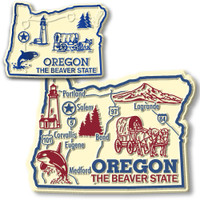 Oregon State Map Giant & Small Magnet Set by Classic Magnets, 2-Piece Set, Collectible Souvenirs Made in the USA