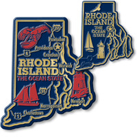 Rhode Island State Map Giant & Small Magnet Set by Classic Magnets, 2-Piece Set, Collectible Souvenirs Made in the USA