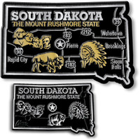 South Dakota State Map Giant & Small Magnet Set by Classic Magnets, 2-Piece Set, Collectible Souvenirs Made in the USA