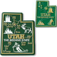 Utah State Map Giant & Small Magnet Set by Classic Magnets, 2-Piece Set, Collectible Souvenirs Made in the USA