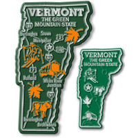 Vermont State Map Giant & Small Magnet Set by Classic Magnets, 2-Piece Set, Collectible Souvenirs Made in the USA