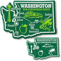 Washington State Map Giant & Small Magnet Set by Classic Magnets, 2-Piece Set, Collectible Souvenirs Made in the USA
