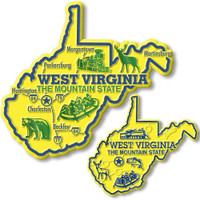 West Virginia State Map Giant & Small Magnet Set by Classic Magnets, 2-Piece Set, Collectible Souvenirs Made in the USA