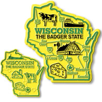Wisconsin State Map Giant & Small Magnet Set by Classic Magnets, 2-Piece Set, Collectible Souvenirs Made in the USA