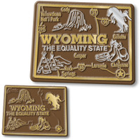 Wyoming State Map Giant & Small Magnet Set by Classic Magnets, 2-Piece Set, Collectible Souvenirs Made in the USA
