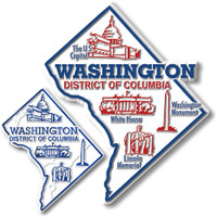 Washington, D.C. Map Giant & Small Magnet Set by Classic Magnets, 2-Piece Set, Collectible Souvenirs Made in the USA