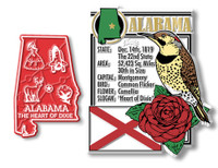 Alabama State Montage and Small Map Magnet Set by Classic Magnets, 2-Piece Set, Collectible Souvenirs Made in the USA