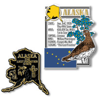 Alaska State Montage and Small Map Magnet Set by Classic Magnets, 2-Piece Set, Collectible Souvenirs Made in the USA