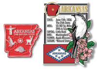 Arkansas State Montage and Small Map Magnet Set by Classic Magnets, 2-Piece Set, Collectible Souvenirs Made in the USA
