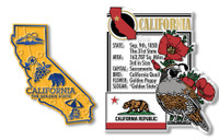 California State Montage and Small Map Magnet Set by Classic Magnets, 2-Piece Set, Collectible Souvenirs Made in the USA