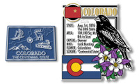 Colorado State Montage and Small Map Magnet Set by Classic Magnets, 2-Piece Set, Collectible Souvenirs Made in the USA
