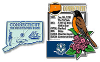 Connecticut State Montage and Small Map Magnet Set by Classic Magnets, 2-Piece Set, Collectible Souvenirs Made in the USA