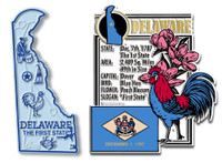 Delaware State Montage and Small Map Magnet Set by Classic Magnets, 2-Piece Set, Collectible Souvenirs Made in the USA