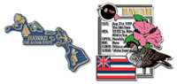 Hawaii State Montage and Small Map Magnet Set by Classic Magnets, 2-Piece Set, Collectible Souvenirs Made in the USA