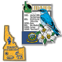 Idaho State Montage and Small Map Magnet Set by Classic Magnets, 2-Piece Set, Collectible Souvenirs Made in the USA