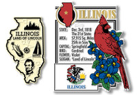 Illinois State Montage and Small Map Magnet Set by Classic Magnets, 2-Piece Set, Collectible Souvenirs Made in the USA