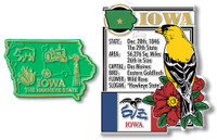 Iowa State Montage and Small Map Magnet Set by Classic Magnets, 2-Piece Set, Collectible Souvenirs Made in the USA