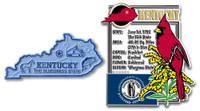 Kentucky State Montage and Small Map Magnet Set by Classic Magnets, 2-Piece Set, Collectible Souvenirs Made in the USA