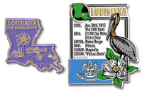 Louisiana State Montage and Small Map Magnet Set by Classic Magnets, 2-Piece Set, Collectible Souvenirs Made in the USA