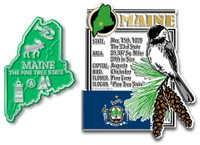 Maine State Montage and Small Map Magnet Set by Classic Magnets, 2-Piece Set, Collectible Souvenirs Made in the USA