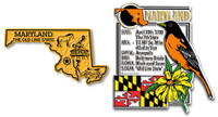 Maryland State Montage and Small Map Magnet Set by Classic Magnets, 2-Piece Set, Collectible Souvenirs Made in the USA