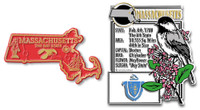 Massachusetts State Montage and Small Map Magnet Set by Classic Magnets, 2-Piece Set, Collectible Souvenirs Made in the USA