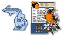 Michigan State Montage and Small Map Magnet Set by Classic Magnets, 2-Piece Set, Collectible Souvenirs Made in the USA
