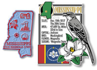 Mississippi State Montage and Small Map Magnet Set by Classic Magnets, 2-Piece Set, Collectible Souvenirs Made in the USA