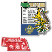 Nebraska State Montage and Small Map Magnet Set by Classic Magnets, 2-Piece Set, Collectible Souvenirs Made in the USA