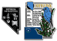 Nevada State Montage and Small Map Magnet Set by Classic Magnets, 2-Piece Set, Collectible Souvenirs Made in the USA