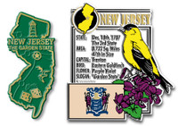 New Jersey State Montage and Small Map Magnet Set by Classic Magnets, 2-Piece Set, Collectible Souvenirs Made in the USA