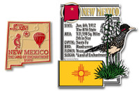 New Mexico State Montage and Small Map Magnet Set by Classic Magnets, 2-Piece Set, Collectible Souvenirs Made in the USA