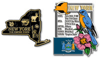 New York State Montage and Small Map Magnet Set by Classic Magnets, 2-Piece Set, Collectible Souvenirs Made in the USA