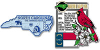 North Carolina State Montage and Small Map Magnet Set by Classic Magnets, 2-Piece Set, Collectible Souvenirs Made in the USA