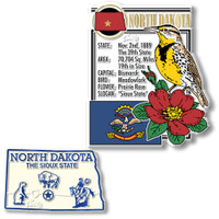 North Dakota State Montage and Small Map Magnet Set by Classic Magnets, 2-Piece Set, Collectible Souvenirs Made in the USA