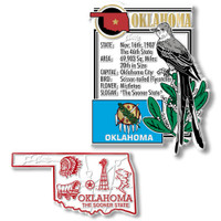 Oklahoma State Montage and Small Map Magnet Set by Classic Magnets, 2-Piece Set, Collectible Souvenirs Made in the USA