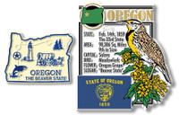 Oregon State Montage and Small Map Magnet Set by Classic Magnets, 2-Piece Set, Collectible Souvenirs Made in the USA