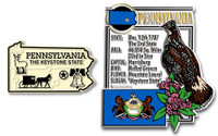 Pennsylvania State Montage and Small Map Magnet Set by Classic Magnets, 2-Piece Set, Collectible Souvenirs Made in the USA